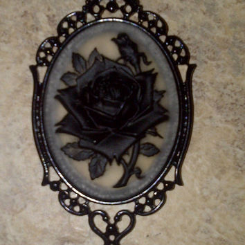Clear Black Rose Flower Goth Steampunk Rockabilly Necklace Pendant Cameo