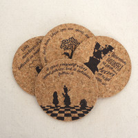 Alice in Wonderland Themed Cork Coaster Set of 4