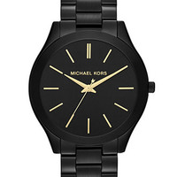 Michael Kors Women's Slim Runway Black-Tone Stainless Steel Bracelet Watch 42mm MK3221