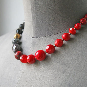 Black Red Wedding Beaded Necklace Ombre Fire Red and Black Statement Necklace Ombre Jewelry