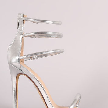 Metallic Triple Ankle Strap Single Sole Heel