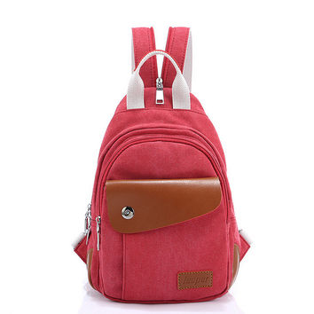 Hot Deal Comfort On Sale College Stylish Back To School Mini Casual Multi-function Canvas Bags Backpack [6304977668]