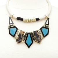 Abstract Rope Collar Necklace by Charlotte Russe - Blue