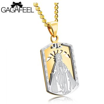 GAGAFEEL Military Tag Pendant  Necklace Men Hollow Style Stainless Steel  Necklace Silver Gold Color Lucky Gift  Customized Logo