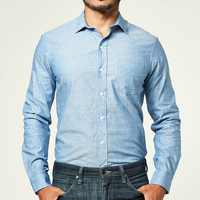 Blue Chambray Polka Dot Print Shirt - Jason