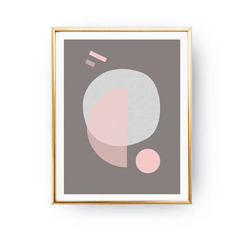 Pink Gray Pastel Print, Modern Wall Art, Abstract Shapes, Simple Print, Mid Century Decor, Textured Circles, Pastel Decor, Minimalist Poster
