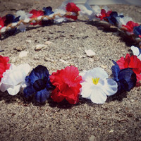 red white and blue, flower, crown, headband,  4th of july, Festival, Coachella, girl, bridesmaid, bridal,  patriotic, women, memorial, day