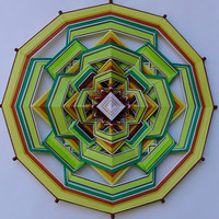 "Mandala Ojo de Dios ""Stability"", 50sm 12-sided, cotton thread, fiber art, ready to ship"