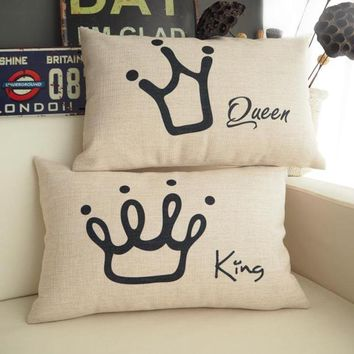 Famous Brand The King The Queen Crown Cushion Covers Shabby Chic Coussin Home Decor Car Seats Rectangle Waist Scatter Kussenhoes