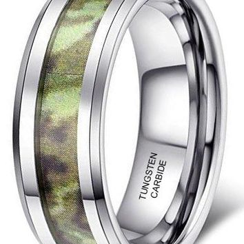 8mm Tungsten Carbide Ring Army Green Camouflage Hunting Camo Wedding Engagement Band Beveled Edge