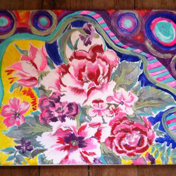 """11""""x14"""" signed acrylic abstract floral painting"""