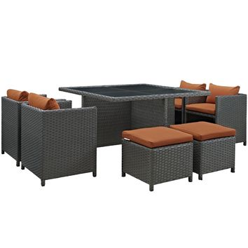Sojourn 9 Piece Outdoor Patio Rattan Sunbrella Dining Set