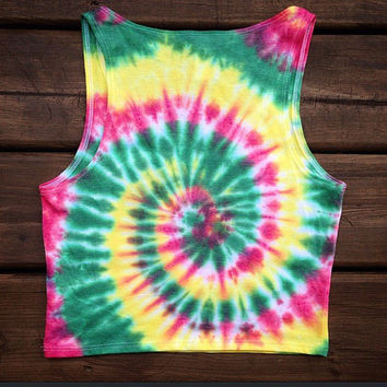 Tie Dye Crop Top - Rasta Crop Top - Handmade - Michigan made - Festival Apparel - Sizes XS/S and M/L - Stretchy and Soft