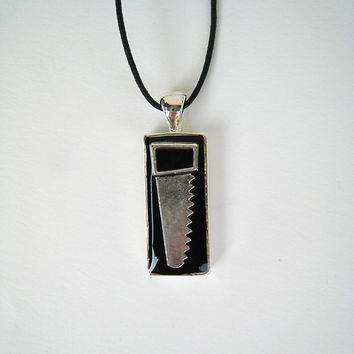 Saw tool black men necklace. Unisex handyman dad fun gift for him small rectangle tool charm pendant goth carpenter miniature custom color