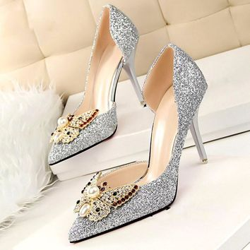 Brand 2017 Luxury Designer Rhinestone Red Bottom High Heels Shoes Women Pumps Ladies Wedding Shoes Bride Gold Sliver Heels Shoes - Beauty Ticks