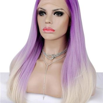 Long Violet Flowers Ombre Synthetic Lace Front Wig