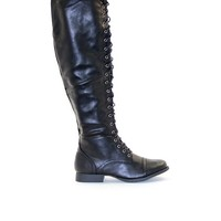Laced Up Knee High Combat Boots in Black