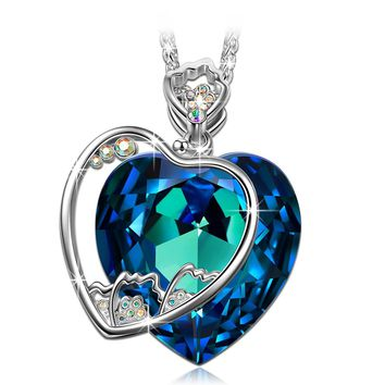 """♥Best Gifts for a Mother Mother-to-be♥ J.NINA """"Blossoming Carnation"""" Heart Design Pendant Necklace with Swarovski Crystals"""