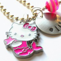 HELLO KITTY Necklace Hand Stamped Personalized Hello by LillyEllen