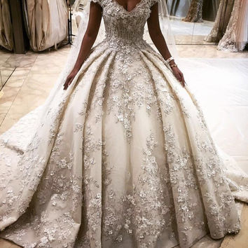 Luxury arabic wedding dress flowers with full beading 2016 wedding
