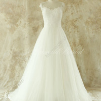 Romantic Ivory A line lace wedding dress with sheer back