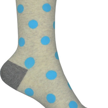 Large Polka Dot Crew Socks in Natural