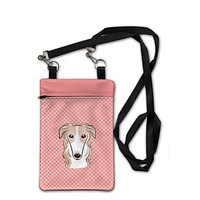 Checkerboard Pink Borzoi Crossbody Bag Purse BB1228OBDY