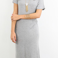 Starry Meadow Heather Gray V-Neck Midi T-Shirt Dress