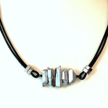 Mens Leather Necklace w/ Crystal. Cool Guys Necklace. Industrial Hex Nut Necklace. Gemstone Jewelry. Unisex Necklace for Him and her