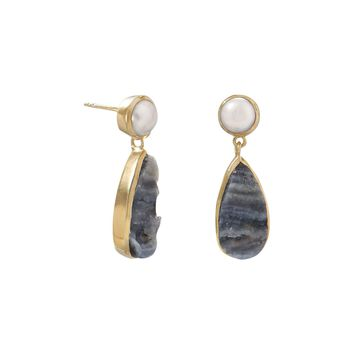 14 Karat Gold Plated Desert Druzy and Cultured Freshwater Pearl Earrings