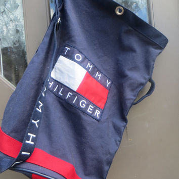 Vintage 1990s Tommy Hilfiger Open Top LARGE cotton canvas   Duffle Bag