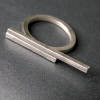 double asymmetrical sterling silver bar ring. Minimalist geometric ring.