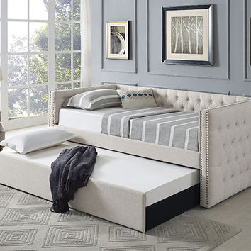 Suzanne II collection beige tufted linen like fabric upholstered twin size day bed with trundle