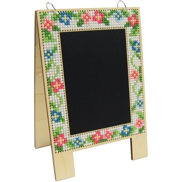 Wood Chalkboard Easel Punched For Cross Stitch Kit-