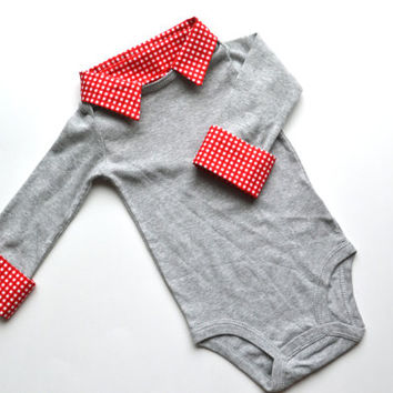 READY TO SHIP 3m, Preppy Baby Boy Onesuit, Gray with Red Gingham, Long Sleeve Button Down with Collar