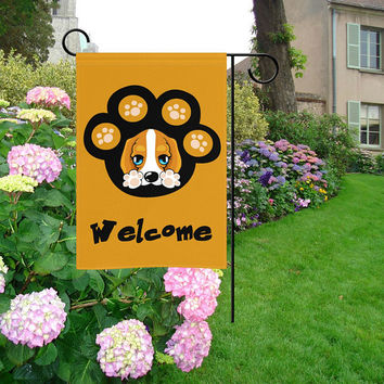 "Cute Puppy Paw Print Welcome Garden Flag 12""x18"""