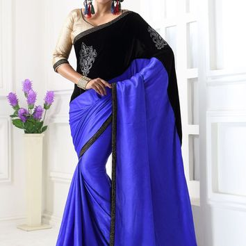 Blue and Black Paper Velvet Designer Saree