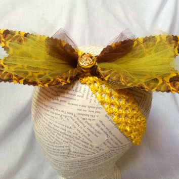 Thanksgiving Big Bow Headband - Baby Big Bow Headwrap - Toddler Headwrap - Retro Rockabilly Headband - Yellow Headband - Acorn Headwrap -