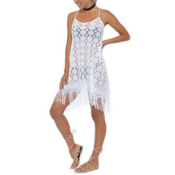 Strappy Fringe Lace Cover-Up Mini Dress - Ivory