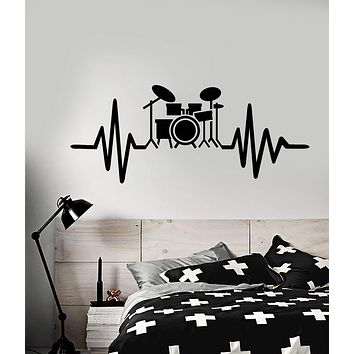 Vinyl Wall Decal Drum Kit For Drummer Musician Music Lover Stickers (2919ig)