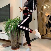 """Gucci"" Women Casual Fashion Multicolor Stripe Letter Long Sleeve Zip Cardigan Trousers Set Two-Piece Sportswear"