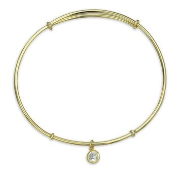Heart Charm CZ Dangle Bangle Bracelet 14K Gold Plated Sterling Silver