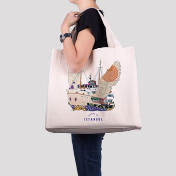 Ferry Canvas Tote Bag, Oversized Beach Bag, Istanbul Print Large Sized Tote Bag