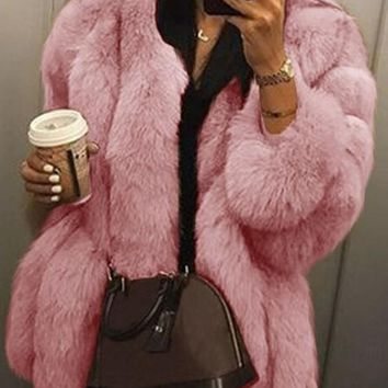 New Pink Faux Fur Collarless Long Sleeve Fashion Outerwear
