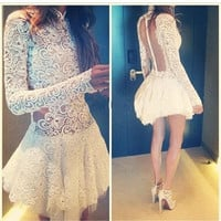 Sheer Back Lace Short Cocktail Dresses Long Sleeves Sexy Women Formal Party Dress High Collar Prom Gowns