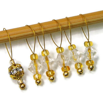 Stitch Markers, Beaded, Yellow, Gold, Crystal, Clear, Snag Free, DIY Knitting, Gift for Knitter, TJBdesigns