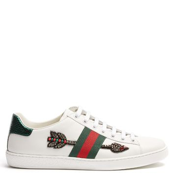 New Ace arow-embroidered leather trainers | Gucci | MATCHESFASHION.COM UK