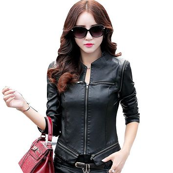 Women Faux Leather Motorcycle Jacket 2017 New Fashion Zipper Ladies Brand Coat Outwear Casual  PU Leather Jacket Female Clothing