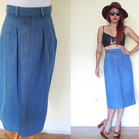 Vintage pencil skirt denim jeans  hippie boho bohemian