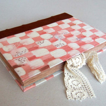 Handmade album, pink and white, leather guest book, notebook, journal, diary, blank book, wedding guest book, baby album, old paper,